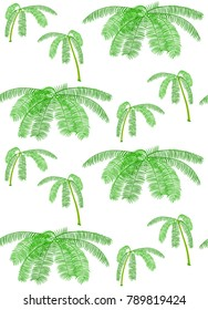 Seamless pattern with palms and branches on white.