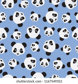 Seamless pattern. Panda face on blue background.