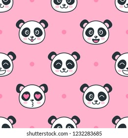 Seamless pattern with panda faces
