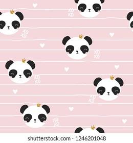 Seamless pattern with panda princess. Cute kids print. Vector hand drawn illustration.