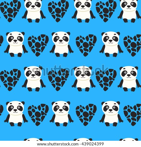 Seamless Pattern Panda Teddy Bear Vector Stock Vector Royalty Free
