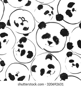 Seamless pattern with pandas painted by black ink in style chinese painting. Vector illustration.