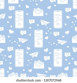 Seamless pattern with paper airplane, envelope, smartphone, sms, hearts. Birthday, Valentine's day, Mother's Day, Father's day, wedding vector romantic background.