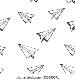 Seamless pattern with a paper airplane on a white background . Drawing by hand . Line drawing. Doodle