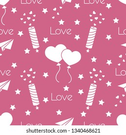 Seamless pattern with paper airplane, petard, balloons, hearts. Birthday, Valentine's day, Mother's Day, Father's day vector romantic background. Design for greeting card, poster or print.