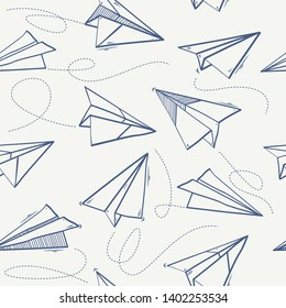 Seamless pattern of paper airplane.Paper airplanes flying on blue sky