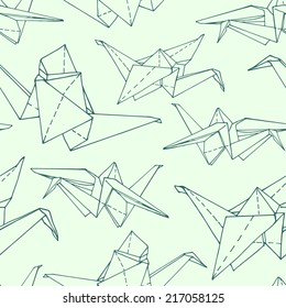 seamless pattern with paper cranes, the green outline on a light green background, can be used for wallpaper, web page background, surface textures