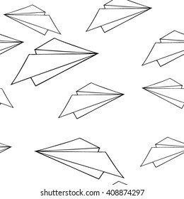 seamless pattern paper plane. Doodled. Black and white hand-drawn background.