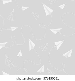 Seamless pattern of paper plane with trace