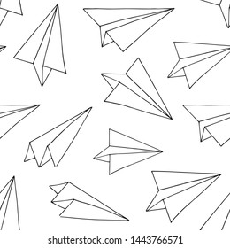 Seamless pattern with paper planes. Hand drawn sketch converted to vector