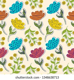 Seamless pattern with paper tulips on light background