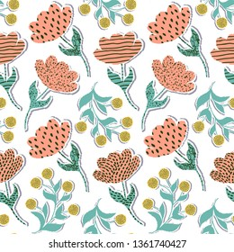 Seamless pattern with paper tulips on white background