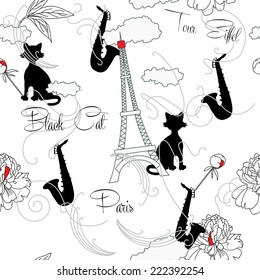 Seamless pattern with  Paris, flowers and music. Vector Illustration