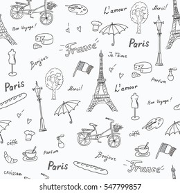 Seamless pattern of Paris french symbols,landmarks.Travel icons fashion,croissant,coffee and flag.used the words: France,Paris,love you,thank you, hello,croissant,perfume,travel.Black white sketch