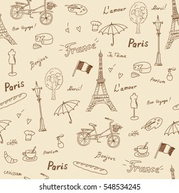 Seamless pattern of Paris french symbols,landmarks.Travel icons fashion,croissant,coffee and flag.used the words: France,Paris,love you,thank you, hello,croissant,perfume,travel.Beige brown sketch