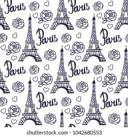 Seamless pattern Paris. Modern hand drawing design for girls. Vector illustration black ink Eiffel Tower is isolated on a white background.