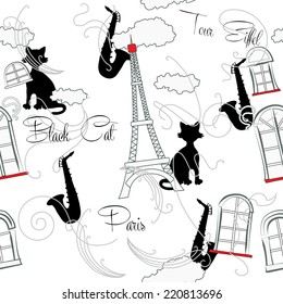 Seamless pattern with  Paris and music. Vector Illustration