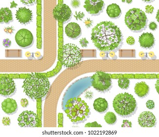 Seamless pattern. Park top view. Various trees, paths, benches, lights, pond. View from above.