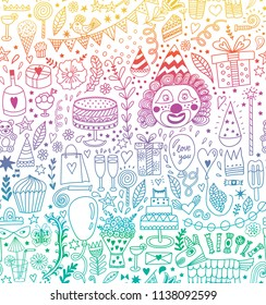 Seamless pattern with party doodles. Happy birthday backdrop. Hand drawn, doodle party