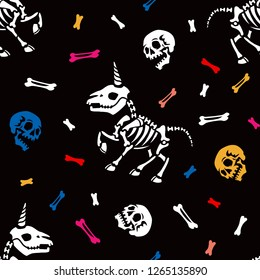 Seamless pattern. Party of little skeletons of unicorns. Anatomy of fantastic animals. Great for greeting cards, halloween party invitations, t-shirt printing and more. Halloween illustration.