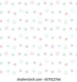 Seamless Pattern of Pastel Flower Design on White Background