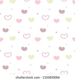 Seamless Pattern of Pastel Heart and Dot Design on White Background