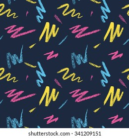 Seamless pattern with pastel pencil strokes in retro 80s style 4