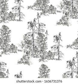 Seamless Pattern Pastoral Groups of Trees, Vintage Black and White Etching, Textile Design, Monochrome Black on White Background, Floral Print, Forest Drawing