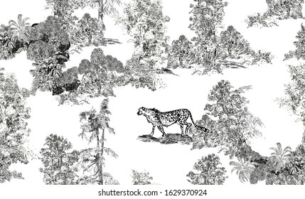 Seamless Pattern Pastoral Romantic Landscape, Toile Lithography Illustration, WildLife Leopard Animal in Trees, Black and White Drawing, Frech Romanticism Engraving Wallpaper Design