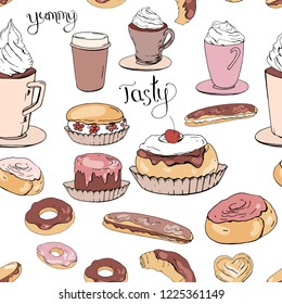 Seamless pattern with pastry. Endless texture for festive design, restaurant and cafe menu, decoration.