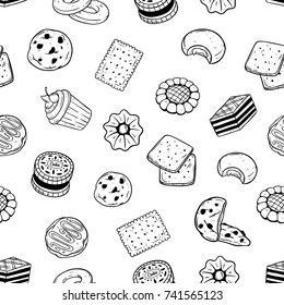 seamless pattern of pastry food cookie and biscuit with doodle style