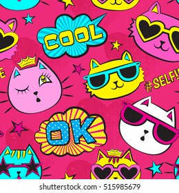 Seamless pattern with patch badges with cats, Pop art comic speech bubbles, stars, for textile. fashion Modern bright grunge background for girls .