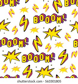 """Seamless pattern with patch badges with words """"Booom!"""" and lightning strikes. Bright modern trendy illustration. Quirky cartoon comic style of the 80s - 90s. White background."""