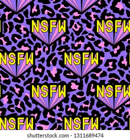 "Seamless pattern with patches, badges with words ""NSFW"". Modern trendy illustration. Quirky funny cartoon comic style of 80-90s. Colorful pink and purple leopard background."