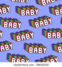 """Seamless pattern with patches, badges with words """"Baby"""". Modern trendy illustration. Quirky funny cartoon comic style of 80-90s. Violet background."""
