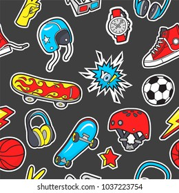 Seamless pattern with patches for boy's interests . Vector background