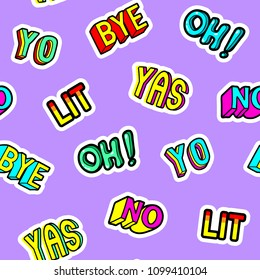 """Seamless pattern with patches: """"Bye"""", """"Lit"""", """"Yas"""", """"No"""", """"Oh"""", """"Yo"""". Cool design on purple background for graphic shirts, wallpapers, wrapping paper, etc."""