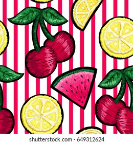 Seamless pattern of patches in the form of fruits on a red stripe.