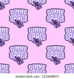 """Seamless pattern with patches, stickers, badges, pins with words """"Gimme space"""". Quirky funny cartoon comic style of 80-90s. Pink background."""