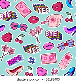 """Seamless pattern with patches, stickers, badges, pins with cell phones, heart-shaped sunglasses, lips, lollipops, words """"Yes"""", """"Bye"""", """"Nope"""", hearts, floppy disks, mixtapes in comic style of 80s-90s."""
