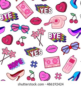 Seamless pattern with patches, stickers, badges, pins with cell phones, heart-shaped sunglasses, lips, lollipops, words, hearts, floppy disks, mixtapes in comic style of 80s-90s. Isolated on white.
