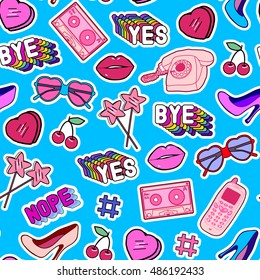 """Seamless pattern with patches, stickers, badges, pins with cell phones, heart-shaped sunglasses, lollipops, words """"Yes"""", """"Bye"""", """"Nope"""", hearts, mixtapes in comic style of 80s-90s. Blue background."""