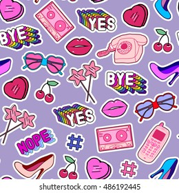 "Seamless pattern with patches, stickers, badges, pins with cell phones, heart-shaped sunglasses, lips, lollipops, words ""Yes"", ""Bye"", ""Nope"", hearts, floppy disks, mixtapes in comic style of 80s-90s."