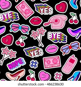"""Seamless pattern with patches, stickers, badges, pins with old cell phones, sunglasses, lollipops, words """"Yes"""", """"Bye"""", """"Nope"""", floppy disks, mixtapes in comic style of 80s-90s. Black background."""