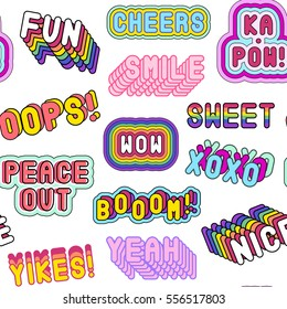 "Seamless pattern with patches, stickers, badges, pins with words ""Nice"", ""Cheers"", ""XOXO"", ""Peace out"", ""Wow"", ""Yeah"", etc. Modern slang phrases. Quirky cartoon comic style of 80-90s. White background"
