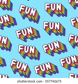 """Seamless pattern with patches, stickers, badges, pins with words """"FUN"""". Modern trendy illustration. Quirky funny cartoon comic style of 80-90s. Bright blue background."""