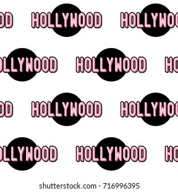 """Seamless pattern with patches, stickers, badges, pins with names of Los Angeles neighborhood """"Hollywood""""."""