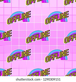 """Seamless pattern with """"offline"""" patches. Vector wallpaper with stickers. Gradient grid background."""