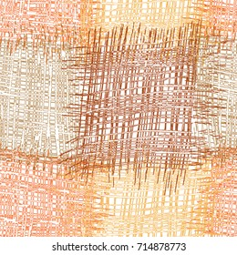 Seamless pattern with patchwork grunge striped and checkered square elements in brown,beige,orange colors