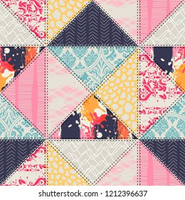Seamless pattern. Patchwork style. Can be used for scrapbook, postcards, print, etc.